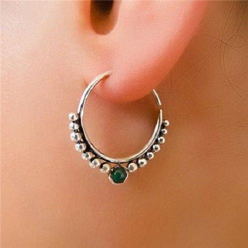 orecchini d'argento - cerchi argento orecchini - orecchini gitani - orecchini tribali - orecchini etnici - orecchini indiani - orecchini di dichiarazione - piccoli orecchini - gioielli d'argento - gioielli tribali - piccoli cerchi