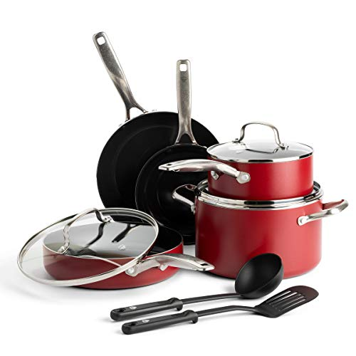 Blue Diamond Cookware Ceramic Nonstick Cookware Pots and Pans Set, 10 Piece, Red