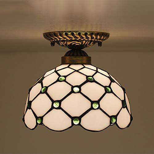 Litaotao Tiffany Stil Led Deckenleuchte Einfache Stil Deckenleuchte 8 \'\' Farbe Glasperlen Jugendstil Deckenleuchte/Glas Lampenschirm Für Schlafzimmer Gang Wohnzimmer,Green