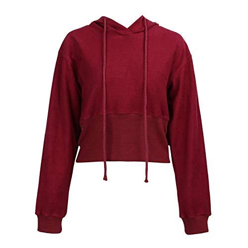 HOSD Color con Invierno suéter sólido Capucha / Sexy Otoño Mujer Jersey Top Corto
