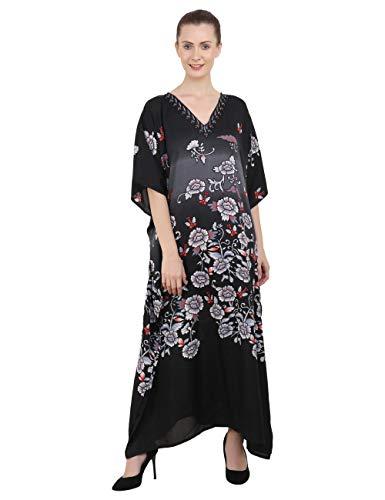 Miss Lavish London Kaftan Túnico Gratis tamaño Vestidos para Mujer Playa Cubrir para Arriba, Maxi Vestido, Ropa de Dormir Estiloso e Atractivo Kimono Uno tamaño [Negro]