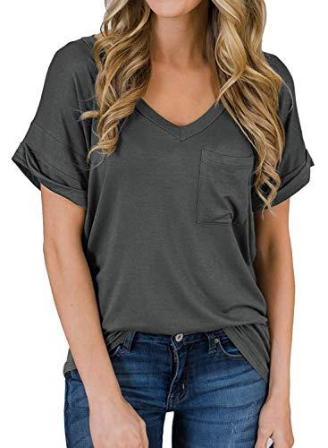Yidarton T Shirt Damen V Ausschnitt Sommer Loose Kurzarm Oberteile Bluse Tops mit Tasche