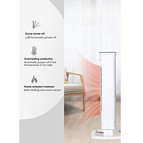 41ixLWhvVlL. SS500  - Oscillating White Tower Fan Heater -2000W Ceramic PTC - Thermostat, 3 gears adjustable, LED Display, Portable Design…