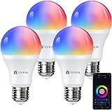 Bombilla LED Inteligente WiFi Luces Cálidas RGB 2800k-6200k Ajustable y Lámpara E27 Multicolor Funciona con Alexa, Google Home, Equivale 7.5W, 4 Paquete