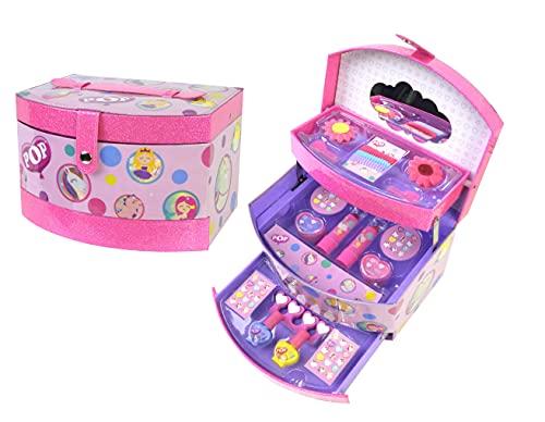 MARKWINS POP GIRL Beauty Vanity Case - Set Trucchi per Bambine - Beauty Case Rigido - Kit Trucchi con Lucidalabbra Bambina, Smalti, Glitter e Molto Altro - Giochi e Regali per Bambini