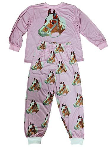 Toller Mädchen Schlafanzug Pyjama in den Größen 140-188 Pferd Extra breiter Schnitt (146-152)