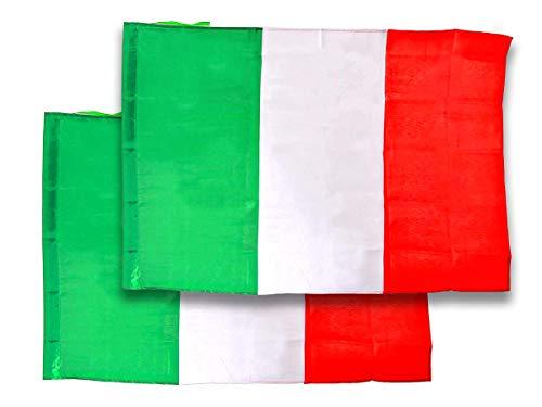 CARALL 2 Pezzi di Bandiera Italiana Italia 145X90CM in Tessuto Poliestere con Passante per L'Asta