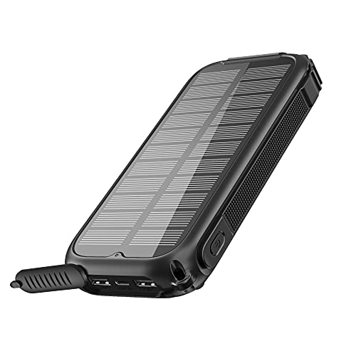 Tranmix Solar Charger 30000mAh High Capacity Portable Solar Phone Charger, 5V/3A Fast Charging Solar Power Bank with Three Outputs for Outdoor Camping Hiking