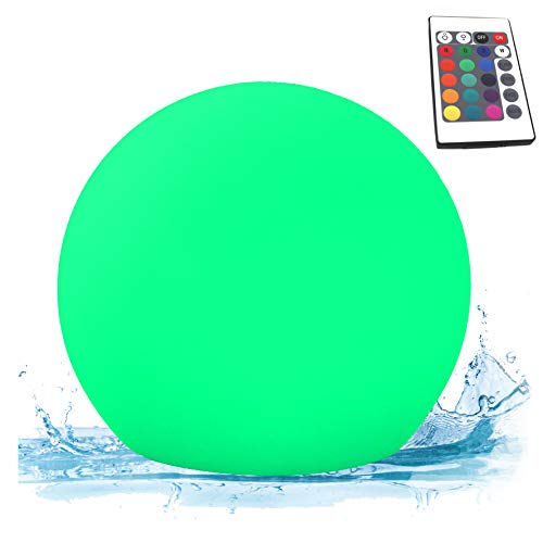 PK Green Erstklassige LED Kugel für Garten, Außenbereich, Outdoor | 25cm Schwimmleuchte Wasserdicht IP67 für Pool, Teich, Wasser | Schwimmkugel Tischleuchte mit Akku, Farbwechsel | Kugelleuchte RGB