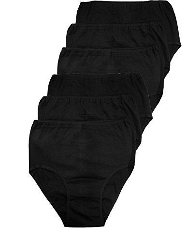 LisaModa Damen Taillenslips 6er Pack Stretch Baumwolle 52/54 Schwarz