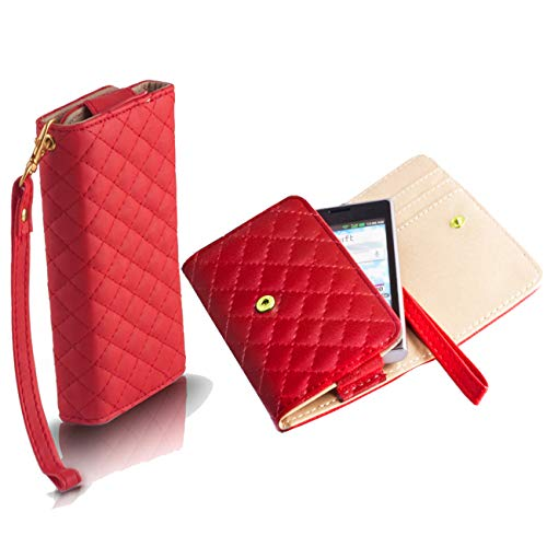 Handyschale24 Wallet Case für Elephone Trunk Handytasche Rot Schutzhülle Tasche Slim Cover Etui Portemonnaie Bookcase Etui