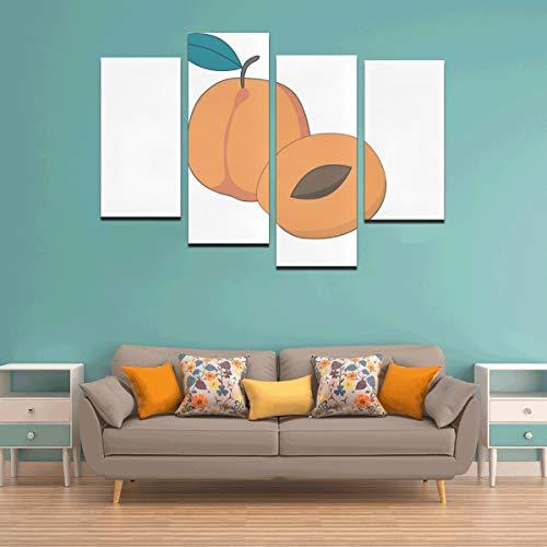 Zemivs 4 Stücke Wohnzimmer Wandfarbe Aprikose Cartoon Obst 3D Wandkunst Dekor Kein Rahmen Wohnzimmer Büro Hotel Wohnkultur Geschenk
