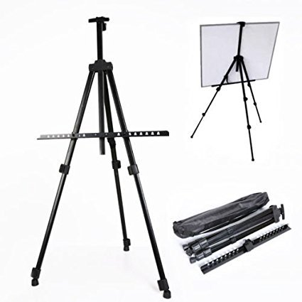 JTW-Best Display Portable & lightweight Easels Adjustable Tripod Aluminium Alloy W/ Carry Bag Black color