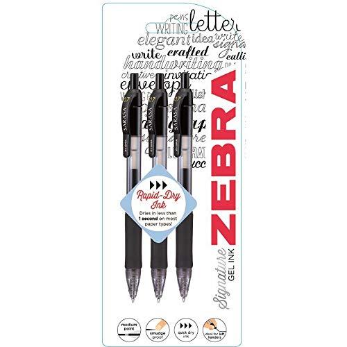 Zebra Pen Sarasa Gel Ink Pen–Schwarz (3Stück)