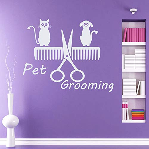Zhuzhuwen Space Invaders Muursticker School Grooming Sign belettering hond kat schaar kam, Vinyl Studio sticker, Office Muursticker