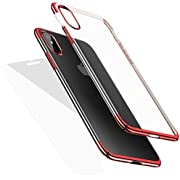 Crystal ClearTPU Cover iPhone Case (Supports Wireless Charging), Protective Back Case with SoftShock Absorption Bumper and Tempered Glass Screen Protector Set iPhone XR (Red)