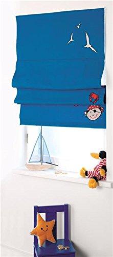 4UNIQ Rollo Raffrollo Sonnenschutz für das Kinderzimmer Pirat blau