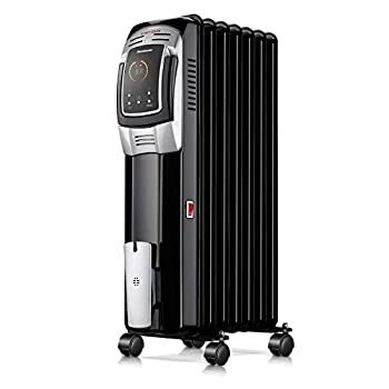 Homeleader 1500W Oil Heater Space Heater with LED Display Screen 24-Hour Timer and Remote Control Electric Oil Filled Radiator Heater Black