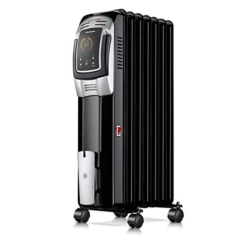 Homeleader 1500W Oil Heater Room Space Heater with LED Display Screen, 24-Hour Timer and Remote Control, Electric Oil Filled Radiator Heater, Black