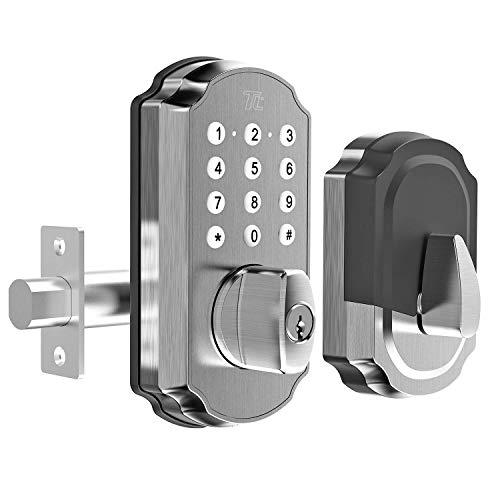 TURBOLOCK TL114 Keyless Door Lock with Keypad and Voice Prompts   Digital Deadbolt Smart Lock w/Commercial-Grade Zinc Alloy & Easy Installation   Micro-USB Port, 3 Backup Keys (Silver)