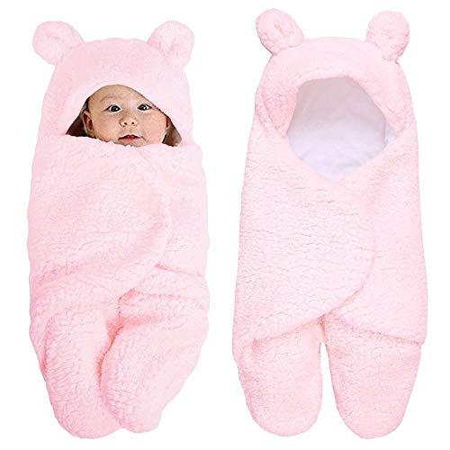 Newborn Essentials Neugeborenes Baby Handtuch Baby Quilt Bandage Wrap Winter Baumwolle Plüsch Kapuzenschlafsack 0-12M Weiß Rosa Bär (B)