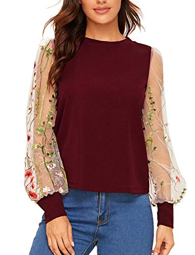 Romwe Women's Embroidered Floral Mesh Bishop Sleeve Loose Casual Blouse Top Burgundy S