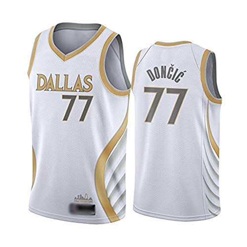 WOLFIRE WF Camiseta de Baloncesto para Hombre, NBA, Dallas Mavericks #77 Luka Doncic. Bordado, Transpirable y Resistente al Desgaste Camiseta para Fan (City Edition 2021, M)