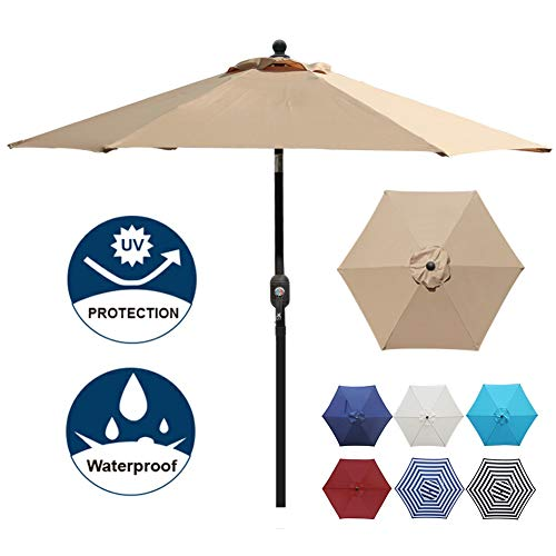 Blissun 7.5 ft Patio Umbrella, Yard Umbrella Push Button Tilt Crank (Tan)