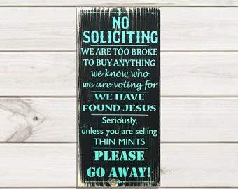 """Not Branded Lustiges Schild mit Aufschrift """"No Soliciting"""", """"No Soliciting"""", """"No Soliciting"""", """"No Soliciting"""", """"No Soliciting"""", """"No Soliciting"""", """"No Soliciting"""", """"No Soliciting"""", """"No Soliciting"""