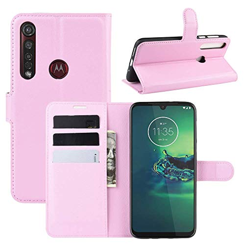 Capa Capinha Carteira 360 Para Motorola Moto G8 Plus Tela De 6.3Polegadas Case Couro Flip Wallet - Danet (Rosa)