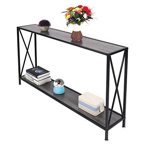 Mesa de Consola Escritorio: Estilo Industrial Retro Consola de 2 Niveles Mesa Auxiliar Mesa de sofá para Muebles de Sala de Estar en casa
