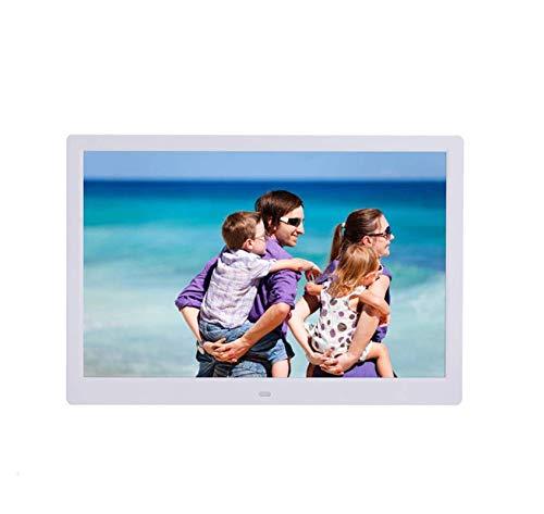 Hahaiyu 15,4 Pulgadas Marcos de Fotos Digital (1280 * 800 resolución) Reproductor de LCD, Publicidad del Reproductor de Estante de Arranque automáticamente Soporte 1080P HD Video,White