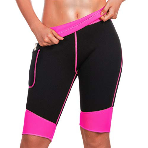 TrainingGirl Inches Slimmer Hot Neoprene Shorts with Pocket for Women Weight Loss Slimming Sauna Sweat Pants Workout Body Shaper Yoga Leggings (Black-Pink, L (See in Last Picture))