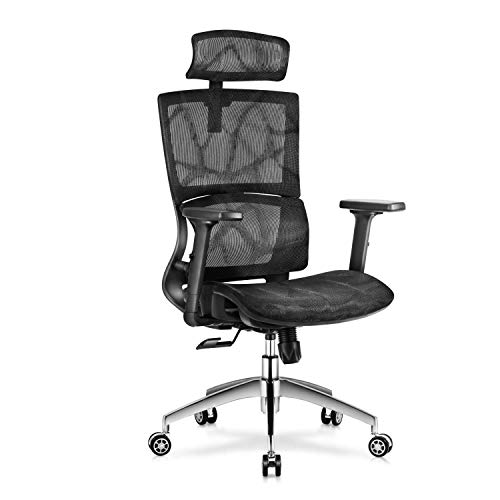 Magic Life 3D Ergonomic Office Chair Breathable Mesh Chair w/3D Adjustable Armrest,Headrest and Lumbar Support,Computer Game Chair(Black)