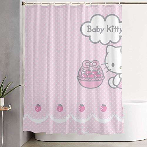 DHGER Tenda da Doccia Funny Fabric Shower Curtain Hello Baby Kitty Waterproof Bathroom Decor with Hooks 60 X 72 inch