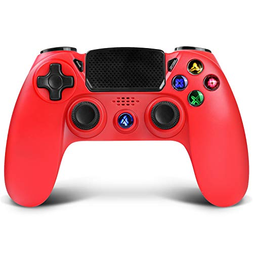 Wireless Controller für PS4, Proslife Game Controller für Playstation 4 /Pro/Slim Consolen Touchpanel Joystick mit doppelter Vibration, Wired Gaming Remote für PS3 / PC Windows über USB-Kabel-ROT