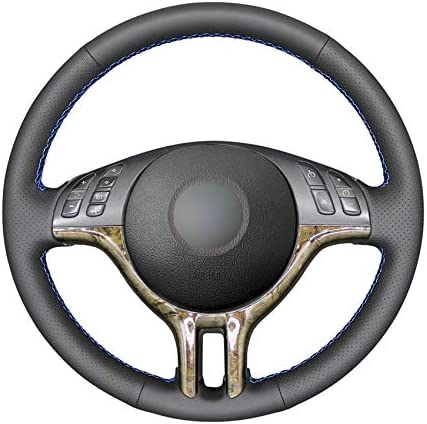 Steering Sale price Wheel Covers Hand-Stitched PU Special price Leather Black Artificial