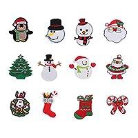 Tachiuwa セットの10/12クリスマスアイロンプリントパッチサンタ雪だるまツリーsnowfakeソーオン刺繍パッチアップリケバッジのためクリスマスフェスティバルパーティー布帽子diy装飾 - 12個
