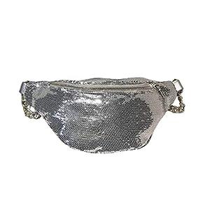 FENICAL riñonera Lentejuelas Bolso de Pecho Cremallera Brillo Cintura Bolso flipy Viaje Honda Bolsas para Mujeres Damas…
