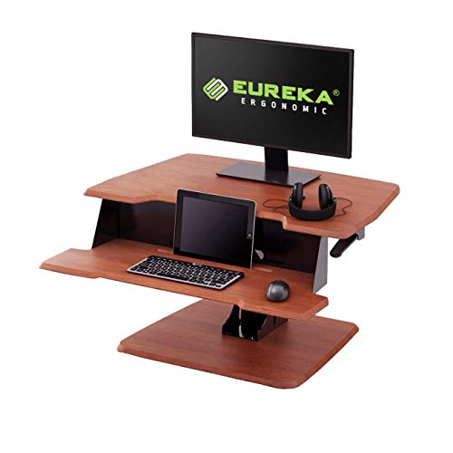 Eureka Ergonomic Height-Adjustable Standing Desk Sit-Stand Desk Top, Standing Desk Converter, No Assembly Required, 31-1/2-Inch-Wide, Cherry