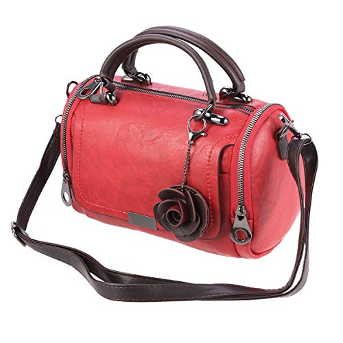 FENICAL Fashion pillow bag woman portable shoulder bag dual-use boston barrel handbag (red)