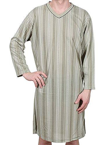Chemise de nuit à manches longues pour homme, 100% coton, L, XL, XXL, XXXL - Multicolore - X-Large