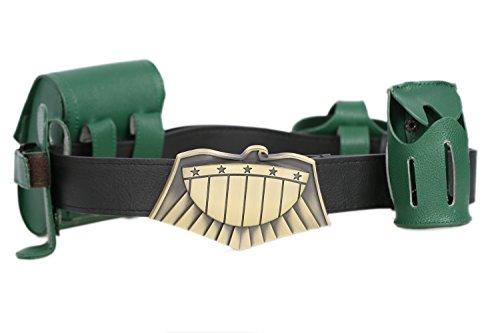 Cinturón de piel sintética Dredd para cosplay, cuatro bolsas verdes, accesorios de disfraz para hombre, color marrón