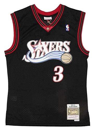 XYY Camiseta de la NBA Mitchell Ness Allen Iverson # 3 Philadelphia 76ers de malla negra Swingman de baloncesto de Swingman Vintage Mesh Jersey bordado