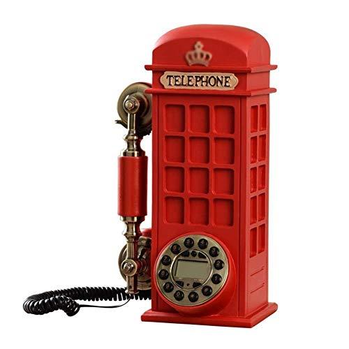 qwertyuio Nostálgico Teléfono Vintage Teléfono/Línea Fija Teléfono Fijo Retro Teléfono Fijo Material De Resina De Calidad con Cable con Botones Y Diales Dos Estilos Rojo, Estilo Tocadiscos