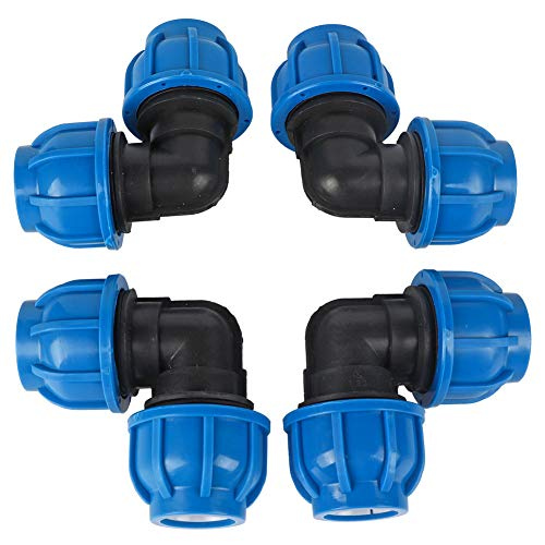 Cafopgrill 4 Stücke gartenschlauch Kupplung, PE Kunststoff Wasseranschluss Wasserleitung 32mm bis 32mm Winkeladapter Anschluss Wasserleitung Fitting Zubehör