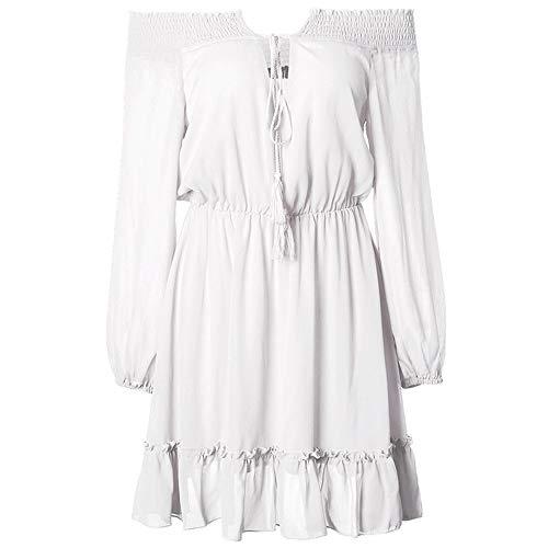 ZHJA 2019 Herbst Und Winter Europäischen Und Amerikanischen Neuen Frauen One-Shoulder-Taille Taille Laterne Ärmel Chiffon-Kleid