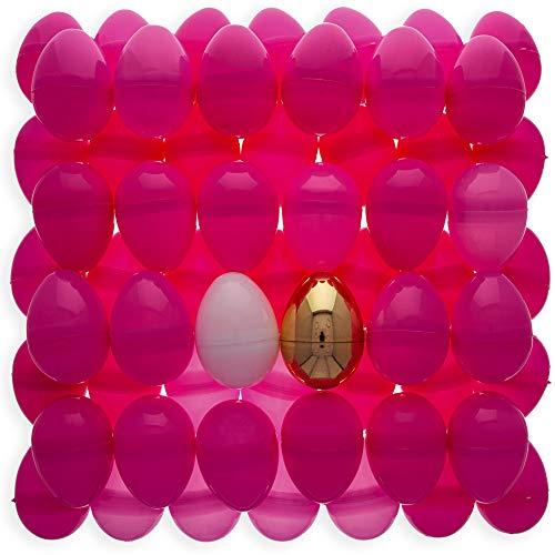 BestPysanky Set of 46 Pink Plastic Eggs + 1 White Egg + 1 Golden Easter Egg