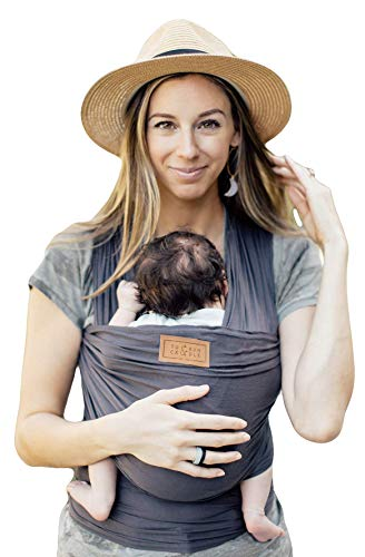 Tuck and Bundle - Lightweight Baby Wrap Carrier - Slate - Best Baby Wrap for Newborns 0-15 Months (0-25 lbs) - Comfortable, Simple, and Hands-Free Babywearing Wraps Made of 100% Micromodal