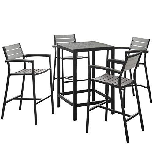 Modway Maine Aluminum 5-Piece Outdoor Patio Pub Bistro Set with 28' Bar Table and Four Bar Stools in Brown Gray
